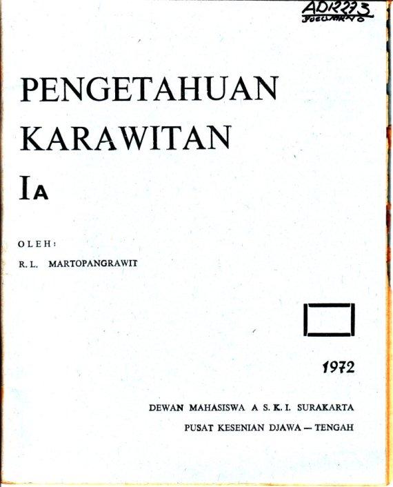 Buku PENGETAHUAN KARAWITAN Jilid I A - R.L. Martopangrawit