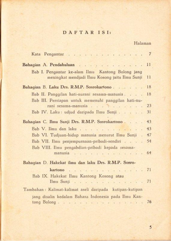 Daftar Isi Buku ILMU KANTONG BOLONG, ILMU KANTONG KOSONG, ILMU SUNYI DRS RMP SOSROKARTONO - susunan R Mohammad Ali.