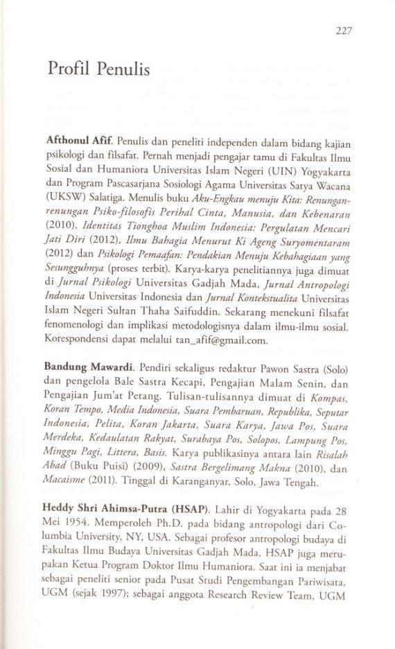Penulis AFTHONUL AFIF,  BANDUNG MAWARDI,  HEDDY SHRI AHIMSA-PUTRA.