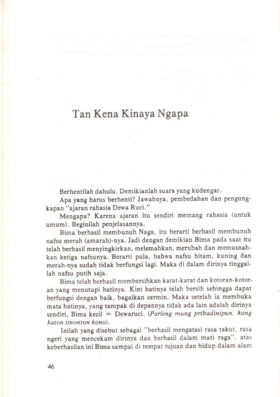 TAN KENA KINAYA NGAPA di buku WAYANG DAN FILSAFAT NUSANTARA karya Sri Mulyono