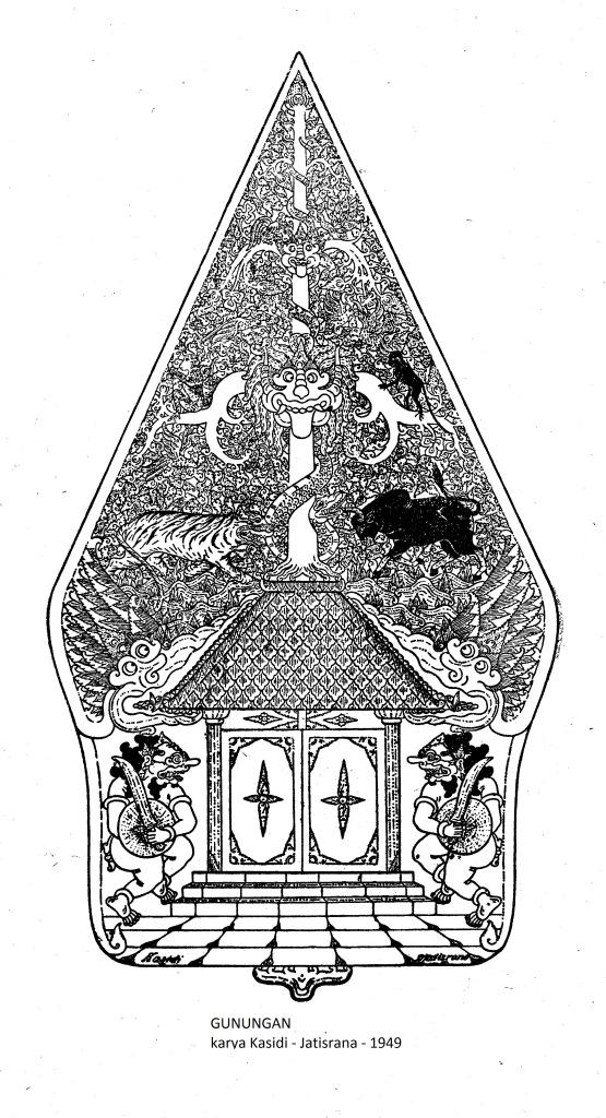 Gambar Wayang Kulit Purwa Jawa - GUNUNGAN - karya Kasidi - tahun 1949