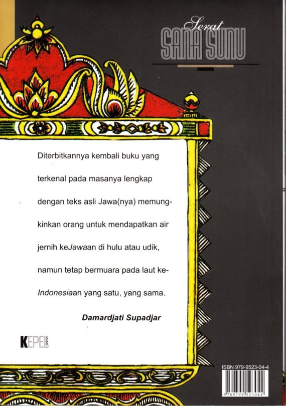 Sampul belakang buku SERAT SANASUNU - Jumeiri