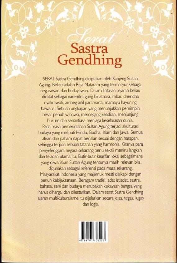 Sampul belakang buku SASTRA GENDHING - Partini B.