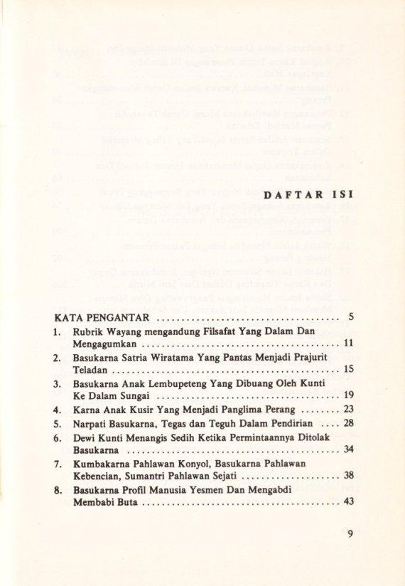 Daftar Isi buku TRIPAMA, WATAK SATRIA DAN SASTRA JENDRA - Sri Mulyono.