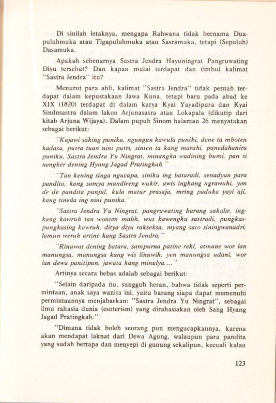 Halaman 123 buku TRIPAMA, WATAK SATRIADAN SASTRA JENDRA - Sri Mulyono.