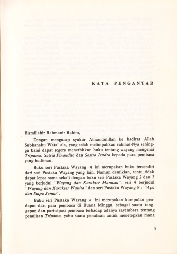 Kata Pengantar Buku TRIPAMAN, WATAK SATRIA DAN SADTRA JENDRA - oleh Sri Mulyono.