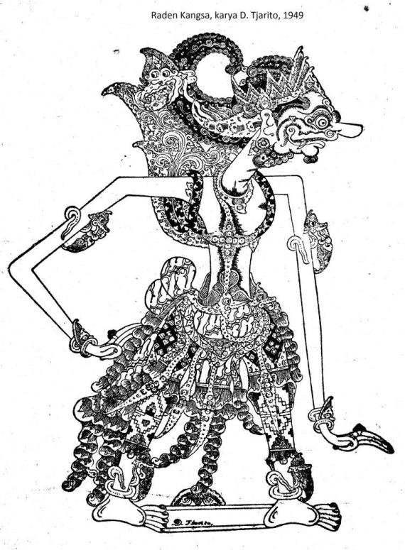 RADEN KANGSA, karya D. Tjarito, 1949. Gambar wayang purwa Jawa dengan resolusi tinggi. Gambar wayang HQ.