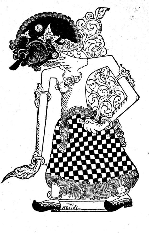 Gambar wayang kulit purwa DEWA RUCI karya Kasidi 1949.