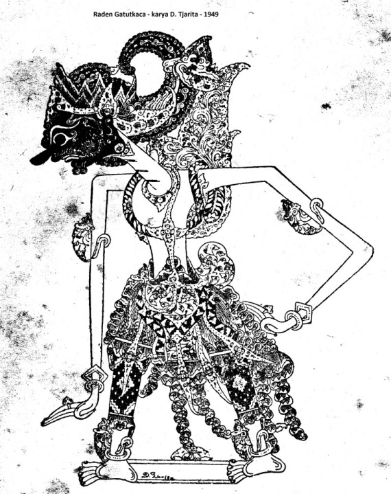Gambar wayang kulit purwa Raden GATOTKACA karya D Tjarito 1949