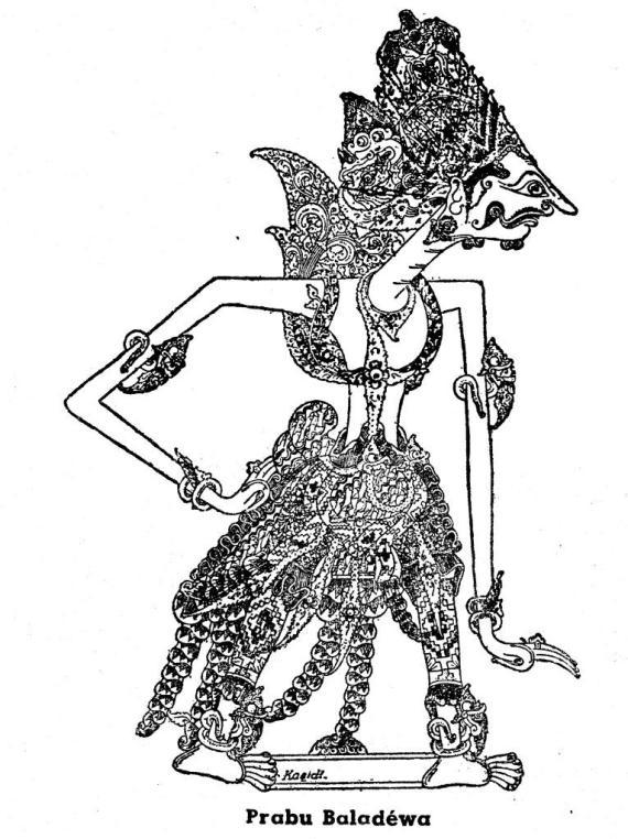 Gambar wayang kulit purwa dengan resolusi tinggi BALADEWA karya Kasidi dari buku tahun 1950-an.