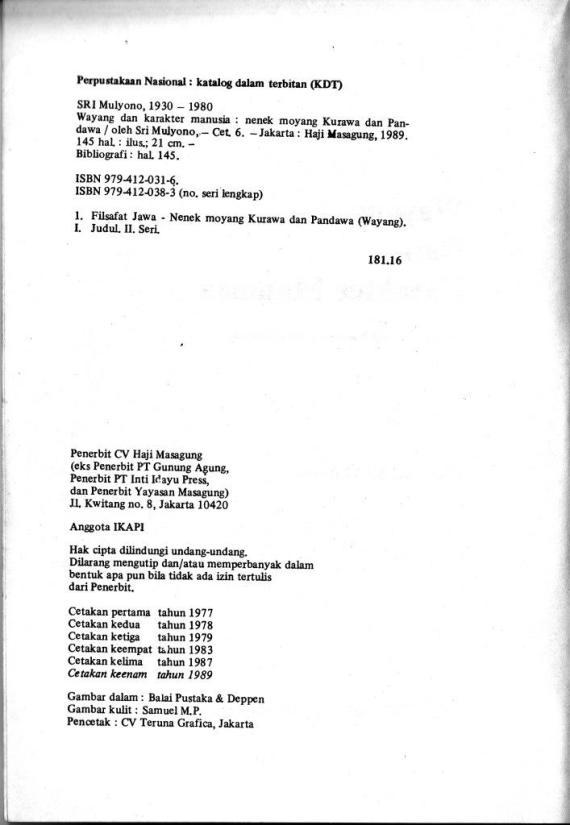 Data buku Wayang & Karakter Manusia 2- Sri Mulyono cmprs