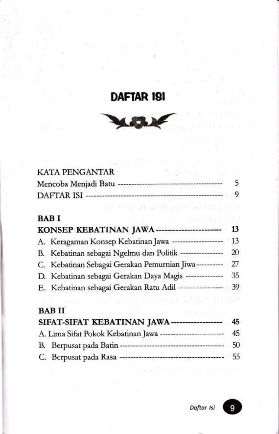 Daftar Isi buku KEBATINAN JAWA. Laku Hidup Utama Meraih Derajat Sempurna oleh Suwardi Endraswara.