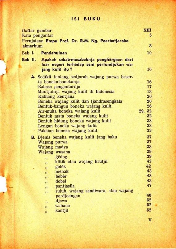 Daftar Isi buku RENUNGAN TENTANG PERTUNJUKAN WAYANG oleh Seno Sastroamidjojo