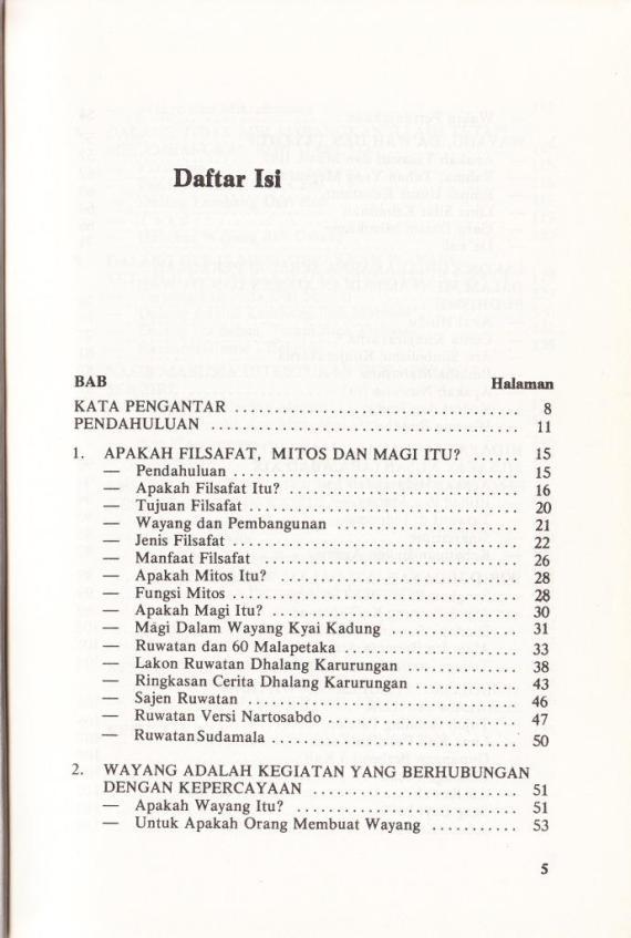 Daftar Isi buku SIMBOLISME DAN MISTIKISME DALAM WAYANG oleh Sri Mulyono,
