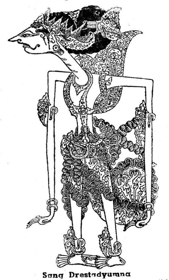 Gambar wayang kulit purwa resolusi tinggi DRESTADYUMNA karya Kasidi dari buku 1950-an.