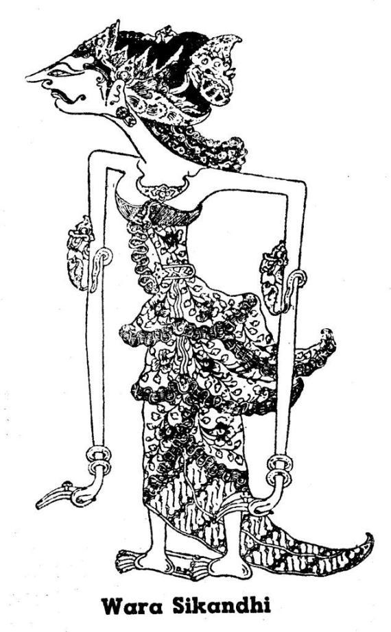 Gambar wayang kulit purwa resolusi tinggi SRIKANDI karya Darma Tjarita dari buku 1950-an.