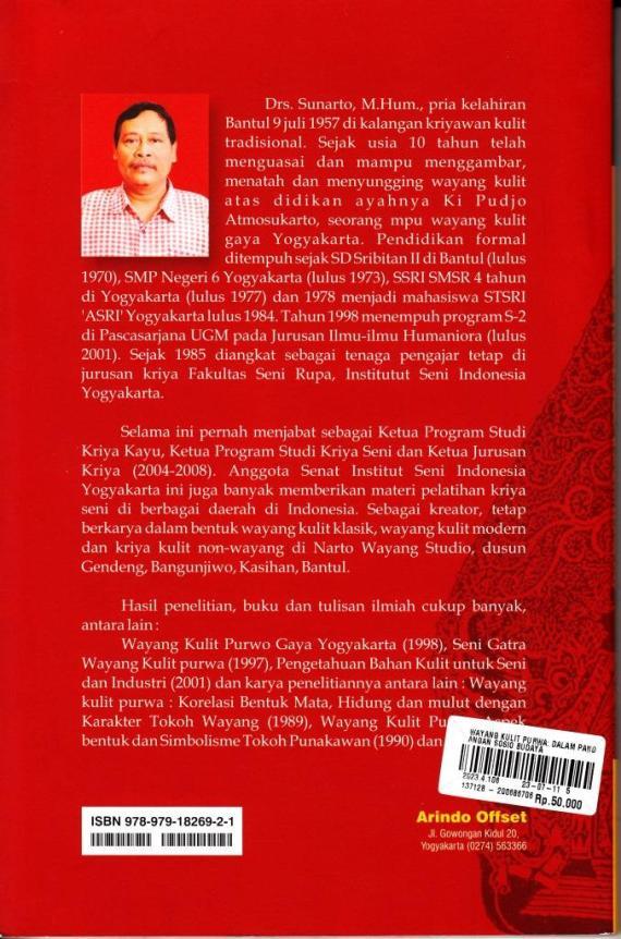 Profil Sunarto penulis buku WAYANG KULIT PURWA. Dalam Pandangan Sosio-Budaya.