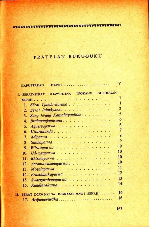 Daftar Isi buku KAPUSTAKAN DJAWI oleh Poerbatjaraka