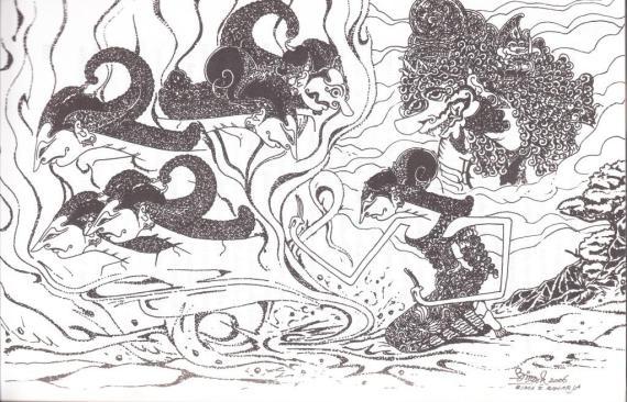 Ilustrasi wayang karya R Bima Slamet Raharja di buku DRUPADI.