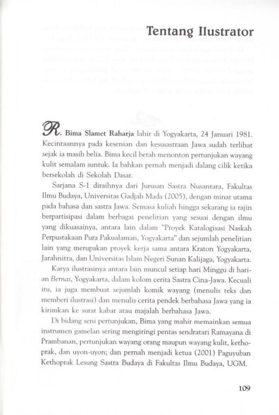 Profil illustrator buku wayang - R Bima Slamet Raharja.
