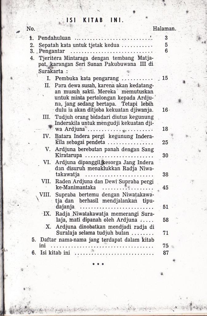 Daftar Isi buku ARDJUNA WIWAHA susunan Tjabang Bagian Bahasa, Djawatan