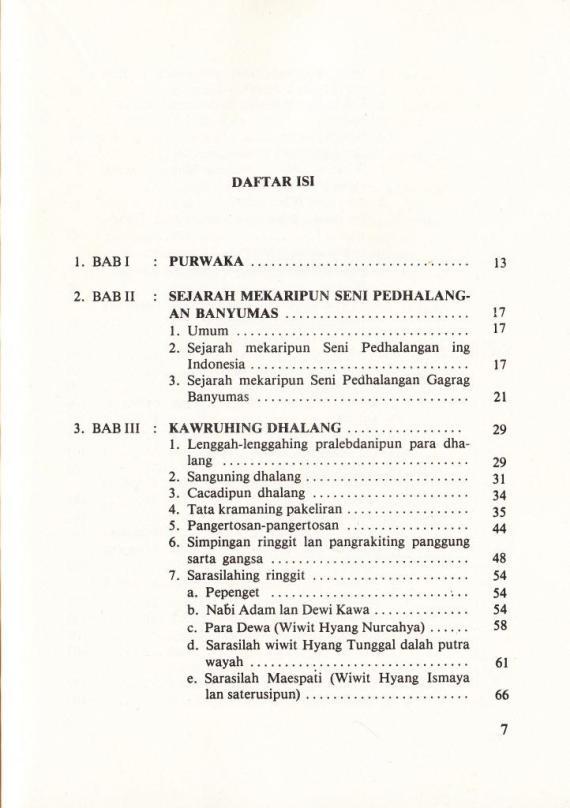 Daftar Isi buku PATHOKAN PEDHALANGAN GAGRAG BANYUMAS