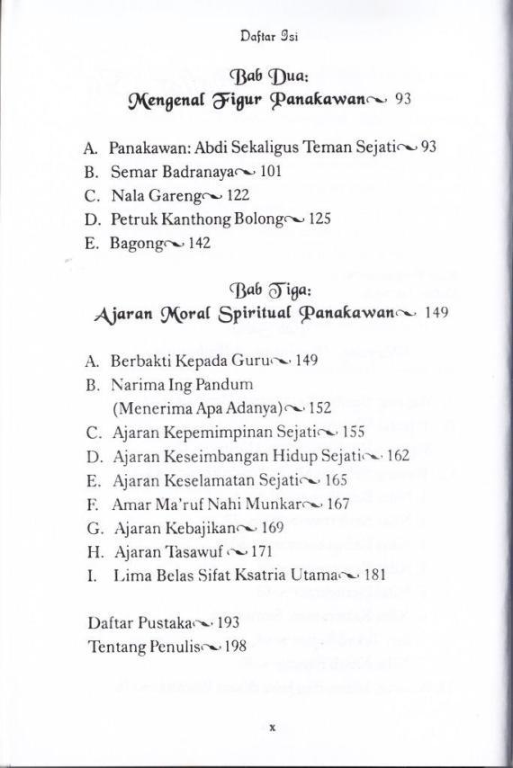 Daftar Isi buku TASAWUF SEMAR HINGGA BAGONG oleh Muhammad Zaairul Haq