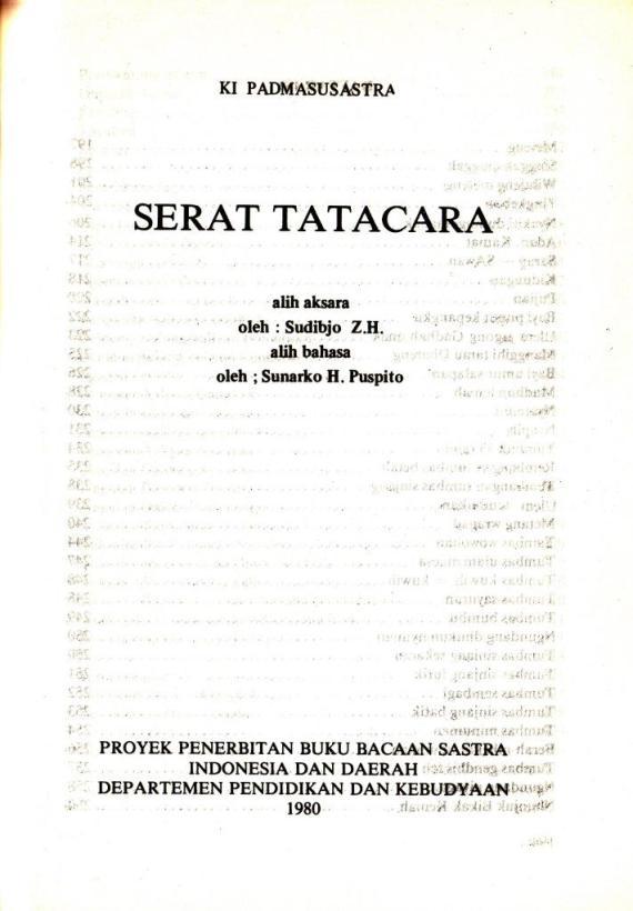 Ebook Serat Tatacara karya Ki Padmosusastro