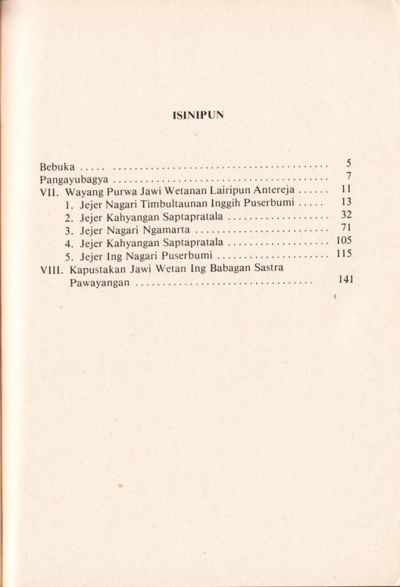 Daftar Isi buku SERAT oenarto Timoer