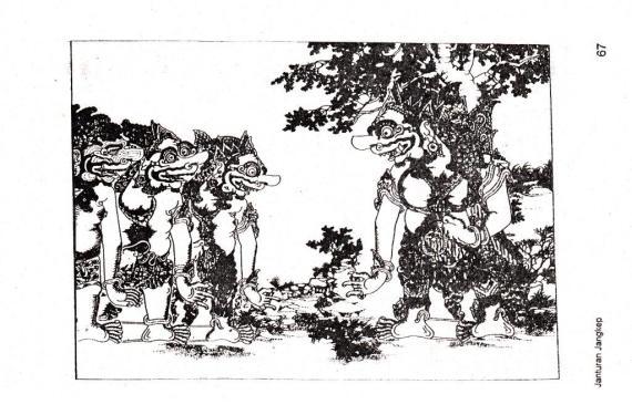 Buta Raton, gambar dari buku JANTURAN JANGKEP WAYANG PURWA oleh Bondhan Harghana