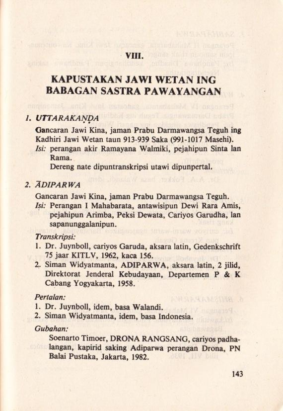 KAPUSTAKAN JAWI WETAN ING BABAGAN SASTRA PAWAYANGAN tulisan oleh Soenarto Timoer.