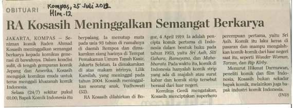 Kreator Komik Wayang RA Kosasih Wafat - berita harian Kompas 25 Juli 2012