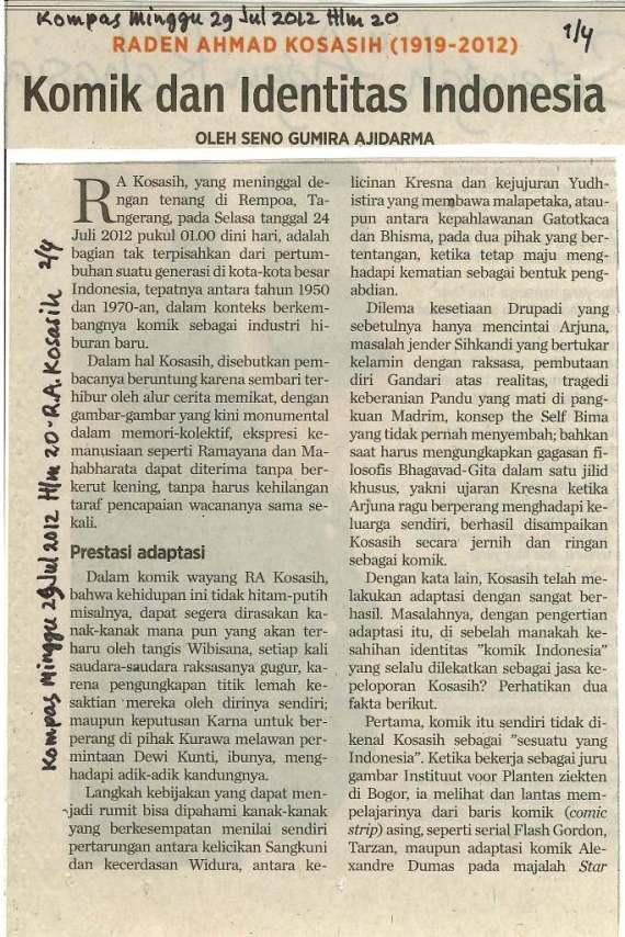 """"""" RA Kosasih - Komik dan Identitas Indonesia """" tulisan Seno Gumira Ajidarma di harian Kompas 29 Juli 2012"""