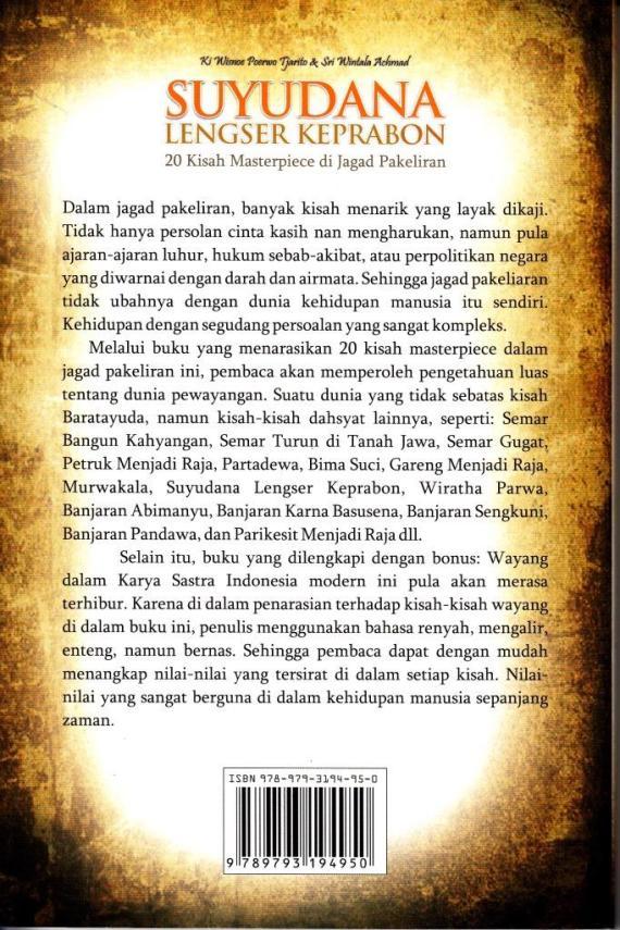 Buku SUYUDANA LENGSER KEPRABON oleh Ki Wisnoe Poerwo Tjarito dan Sri Wintala Achmad
