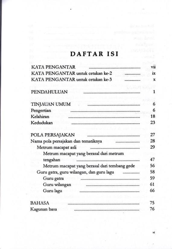 Daftar Isi buku SEKAR MACAPAT oleh Karsono H Saputra.