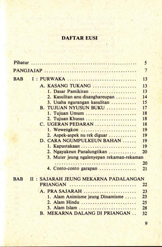 Daftar Isi buku TETEKON PADALAGAN SUNDA karya Atik Soepandi.