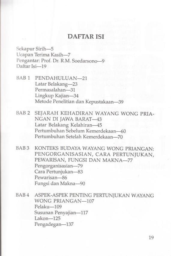 "Daftar Isi buku "" WAYANG WONG PRIANGAN "" karya Iyus Ruslianan."