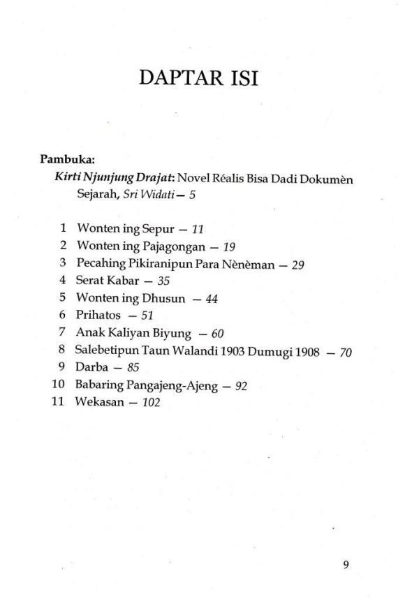 Daftar isi Buku KIRTI NJUNJUNG DRAJAT oleh Jasawidagda R Tg