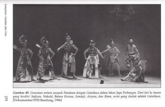 Adegan di pertunjukan Wayang Wong Priangan 1996. Guneman [pembicaraan] antara sesepuh Pandawa dengan Gatotkaca dalam lakon Jaya Perbangsa.