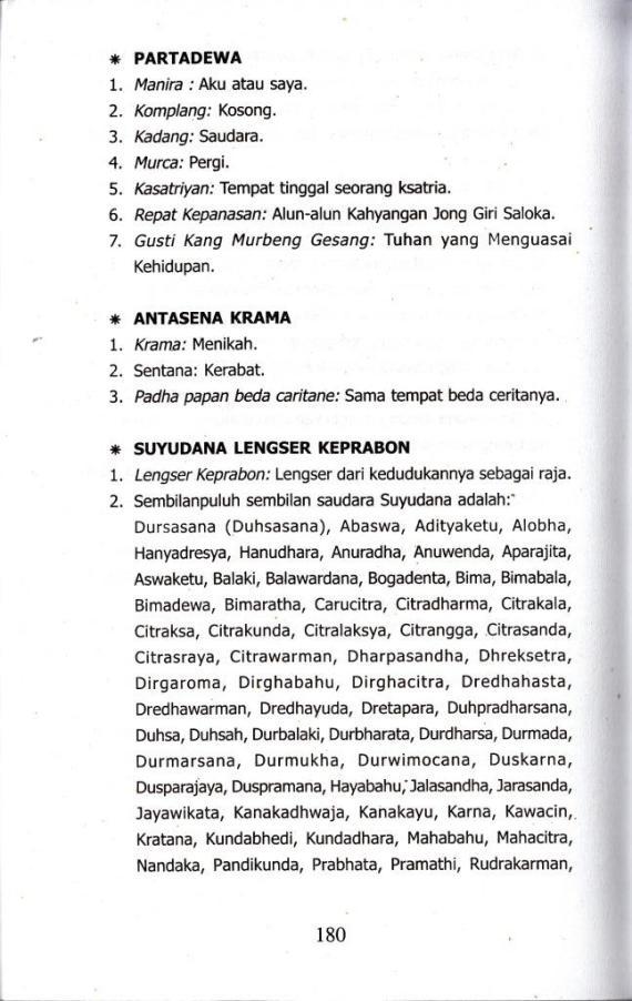 Glosarium / daftar arti kata bahasa Jawa pedalangan di buku SUYUDANA LENGSER KEPRABON