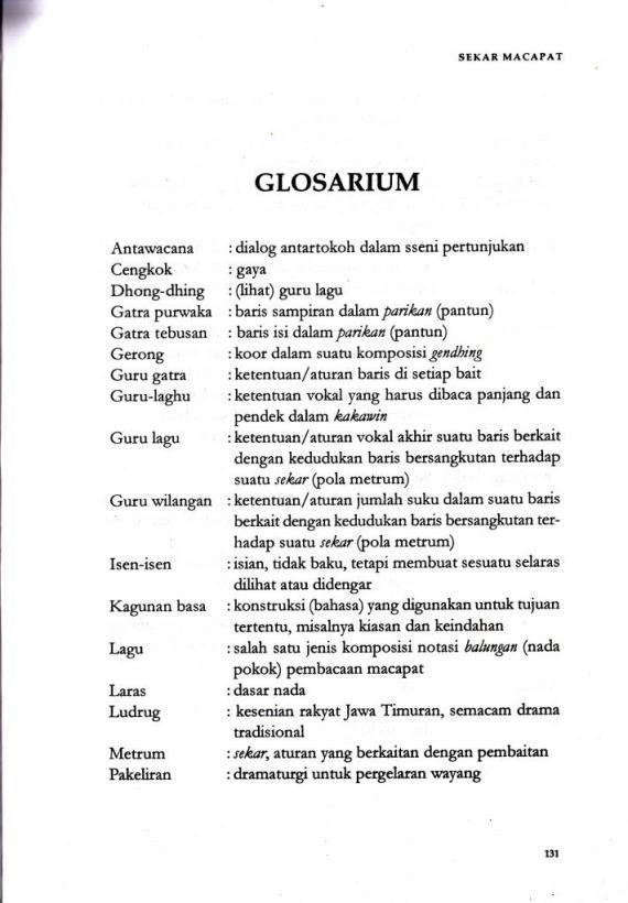 Glosarium di buku SEKAR MACAPAT oleh Karsono H Saputra.