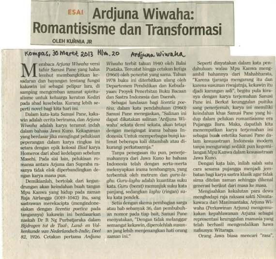"""Kliping """" ARDJUNA WIWAHA : Romantisisme dan Tranformasi. """" tulisan Kurnia JR"""