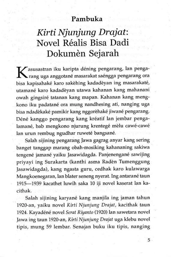 Pambuka 1 buku Kirti Njunjung Drajat oleh Jasawidagda R Tg