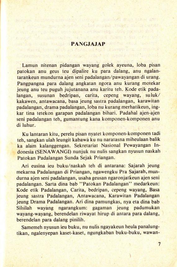 Pangjajap di buku TETEKON PADALANGAN SUNDA karya Atik Soepandi.