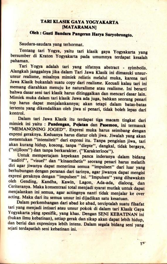 Tari Klasik Gaya Yogyakarta tulisan Bp Suryobrongto di dalam buku KAWRUH JOGED MATARAM terbitan Yayan Siswa Among Beksa Yogyakarta