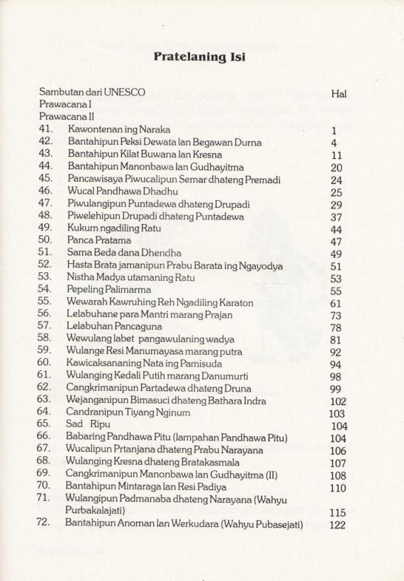 """Daftar Isi buku """" WEJANGAN, WEWARAH, BANTAH, CANGKRIMAN, PIWULANG KAPRAJAN. Jilid 3. """"  oleh Marwanto, penerbit CV Cendrawasih."""