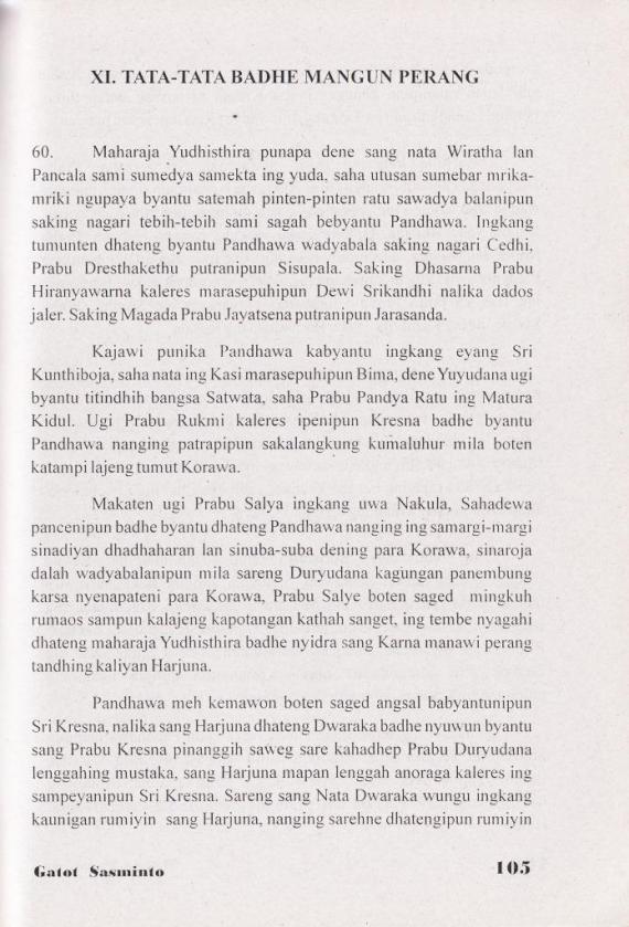 Halaman 105 buku BABAD PANDHAWA oleh Gatot Sasminto, penerbit CV Cendrawasih.