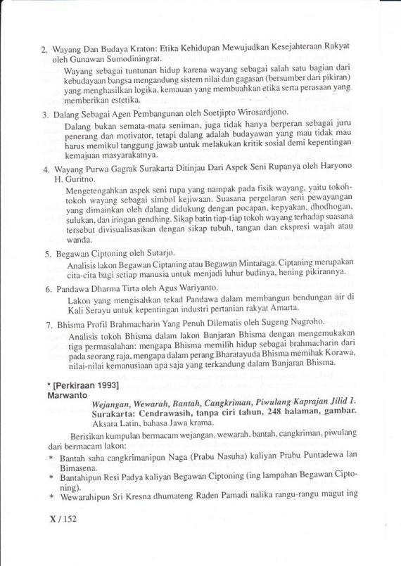 """Daftar Isi buku """" WEJANGAN, WEWARAH, BANTAH, CANGKRIMAN, PIWULANG KAPRAJAN. Jilid 1. """" oleh Marwanto, penerbit CV Cendrawasih."""