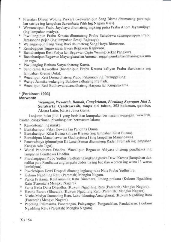 """Daftar Isi buku """" WEJANGAN, WEWARAH, BANTAH, CANGKRIMAN, PIWULANG KAPRAJAN. Jilid 2. """"  oleh Marwanto, penerbit CV Cendrawasih."""