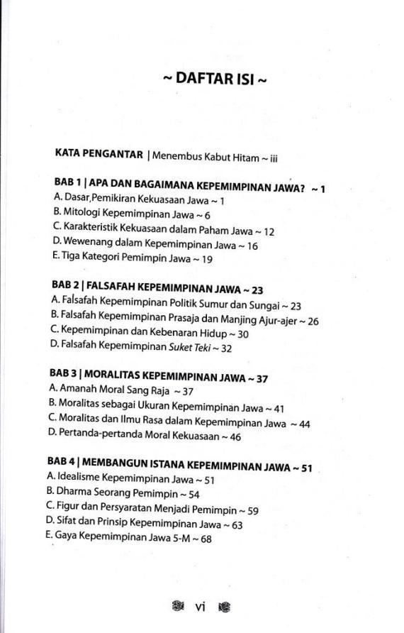Dafyat Isi 1 buku FALSAFAH KEPEMIMPINAN JAWA karya Suwardi Endraswara.